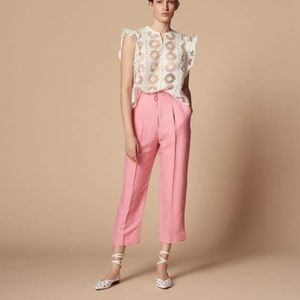 SANDRO Hedwige Cropped Straight-leg Pants 2 Pink